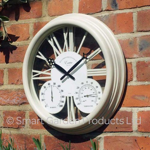 Wall Clock Thermometer White Garden Indoor Decors Timepiece Hygrometer  Outdoor Wall Clock Thermometer White Garden Indoor
