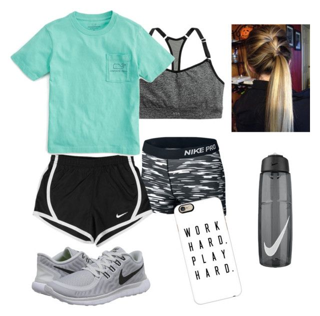 """""""First volleyball practice tomorrow """" by elyse-eburg ❤ liked on Polyvore featuring NIKE, Vineyard Vines and Casetify"""