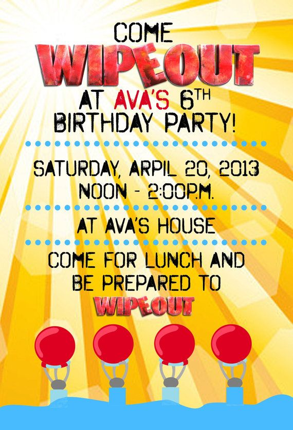 WIPEOUT Birthday Party Invitation Water Slide party by DigiGoose