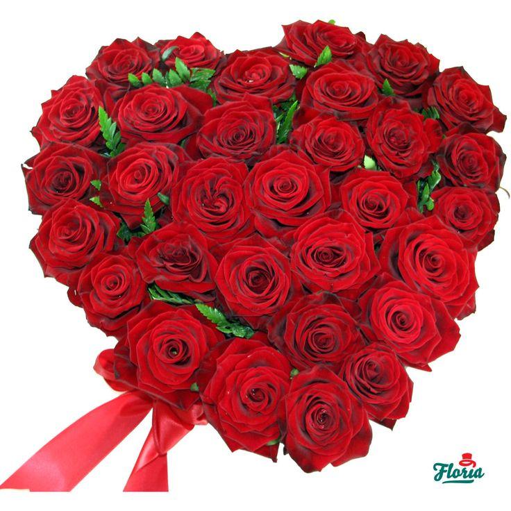 Aranjament in forma de inima din 31 trandafiri rosii - Floria