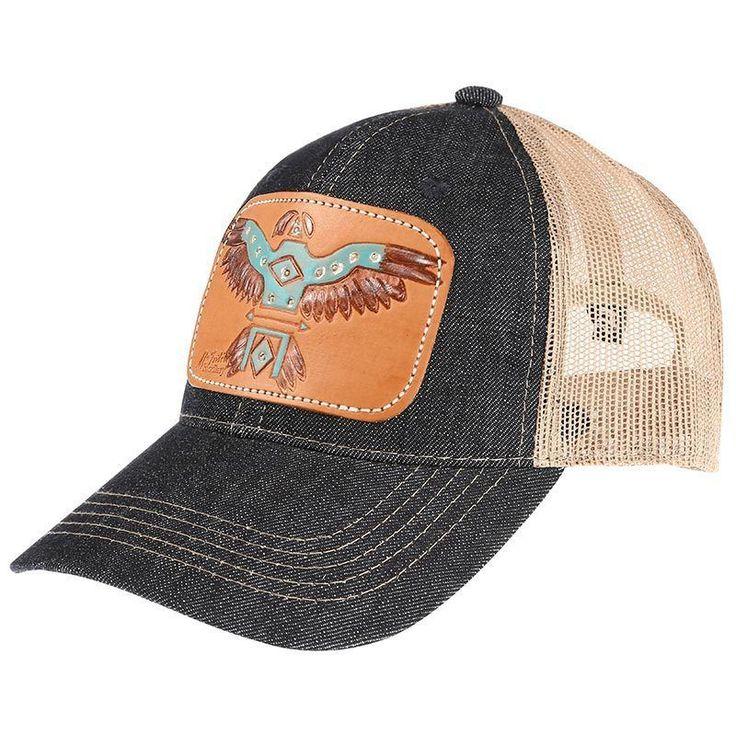 Ladies Tooled Leather Painted T Bird Cap