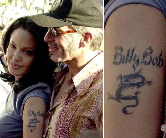 Angelina Jolie added her then-husband Billy Bob Thornton's name above her arm dragon tattoo.  I think it's been removed