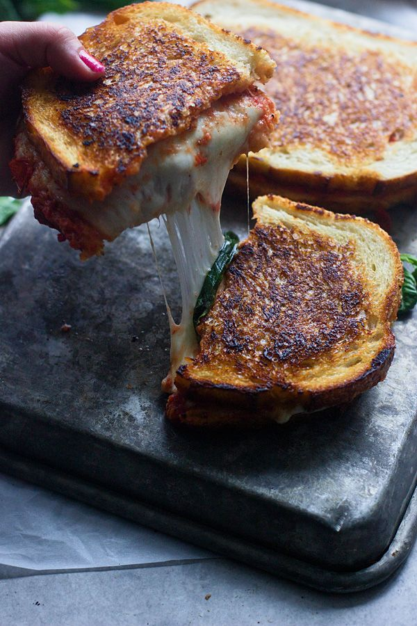 Pizza Margherita Grilled Cheese -- YUM.