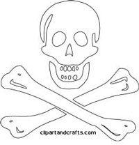 Skull and crossed bones pirate symbol coloring page