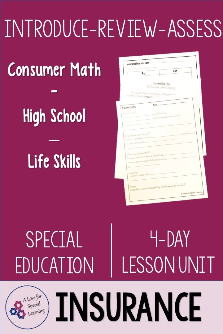 Insurance Lesson Unit Consumer Math Life Skills Special Education