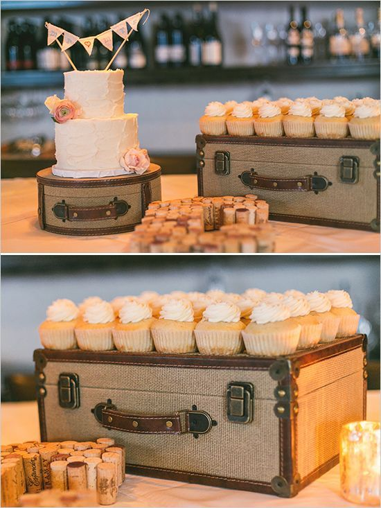Use suitcases for cakes and cupcake stands #dessertable #weddingideas: