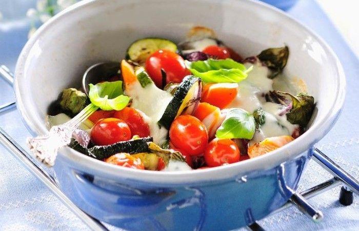 Varma grönsaker med mozzarella