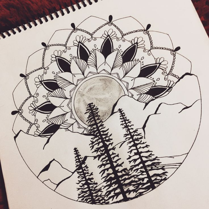 mandala full moon forest mountain tattoo wild drawing design landscape elbow ditch idea
