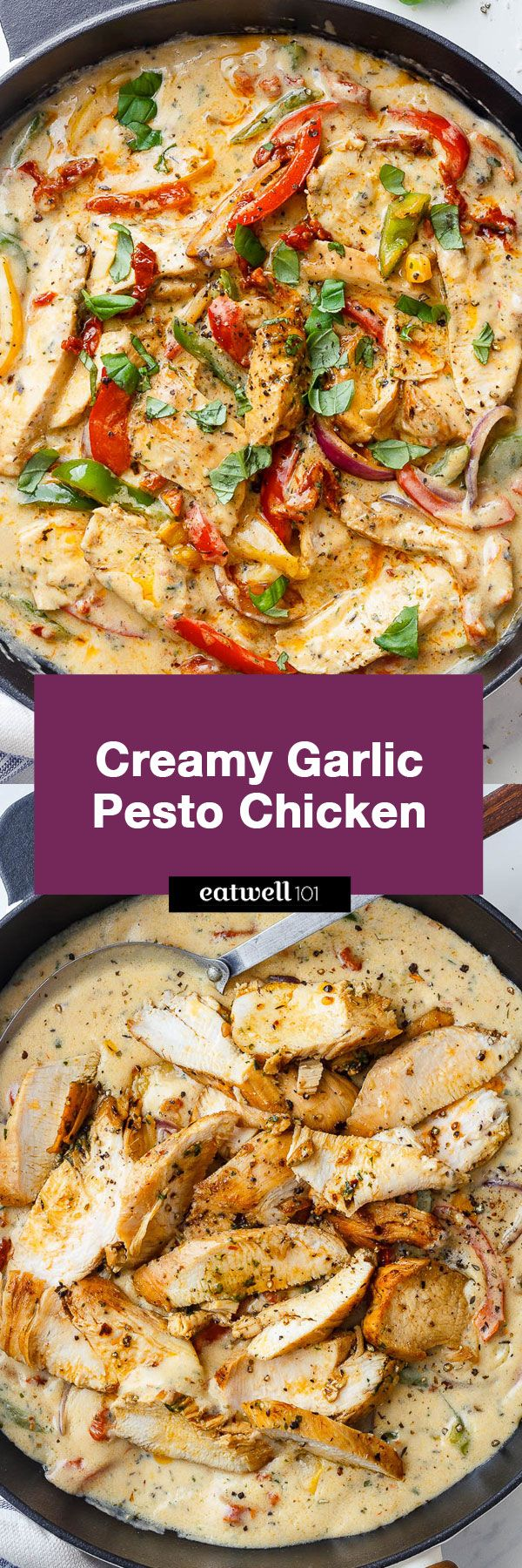 Creamy Garlic Pesto Chicken - This stir-fry chicken with pesto, sun-dried tomatoes and bell peppers in a creamy garlic sauce is simply amazing.