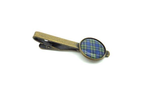 Tartan Tie Bar  Bronze Tie Clip  Green and by MoonflameCufflinks