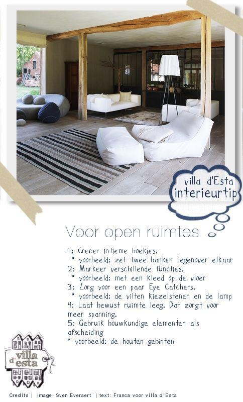 Interieur tips voor -grote- open ruimtes   villa d'Esta   interieur en wonen