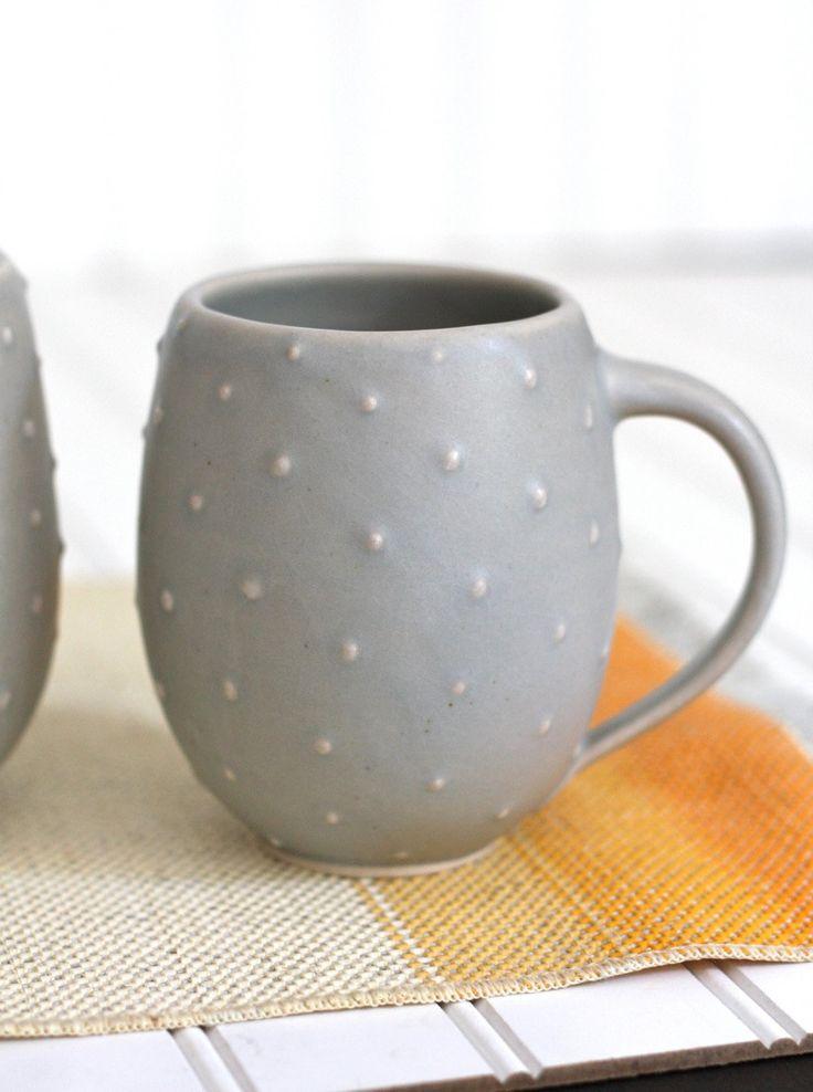 Pottery coffee mug matte gray polka dot belly mug for Pottery cup ideas