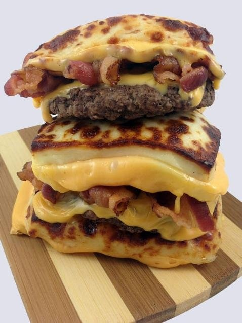 This bacon cheeseburger from DudeFoods.com uses fried cheese pieces as bread.