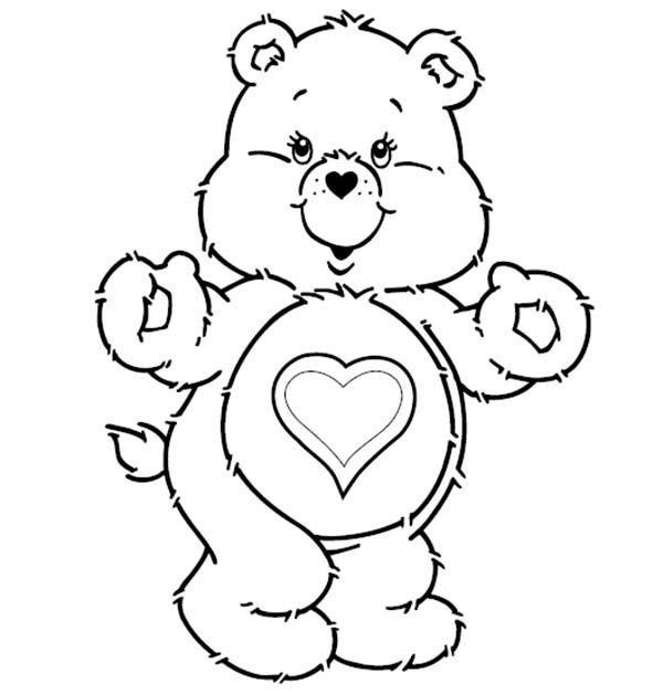 Care Bear Tenderheart Bear Is Excited In Care Bear Coloring Page Valentine Coloring Pages Bear Coloring Pages Animal Coloring Pages
