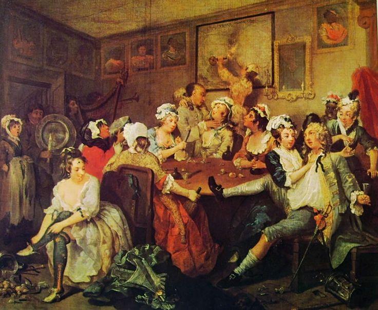 La carriera del Libertino (3) - La Taverna, William Hogarth; 1733-35; olio su tela; Soane's Museum, Londra