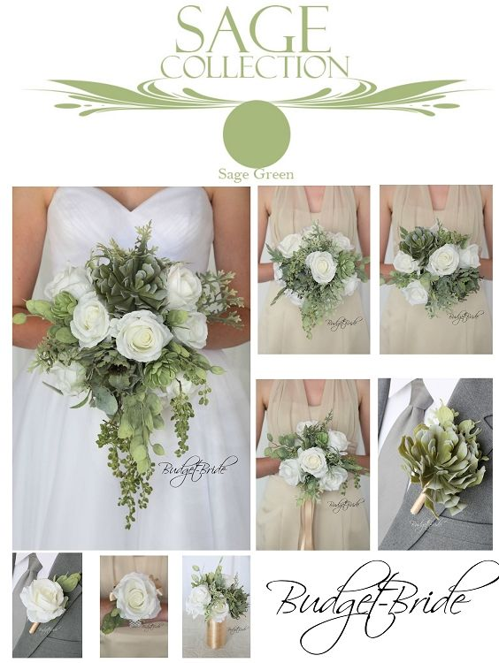 Davids Bridal matching wedding flowers sage green succulents and champagne dresses wedding party