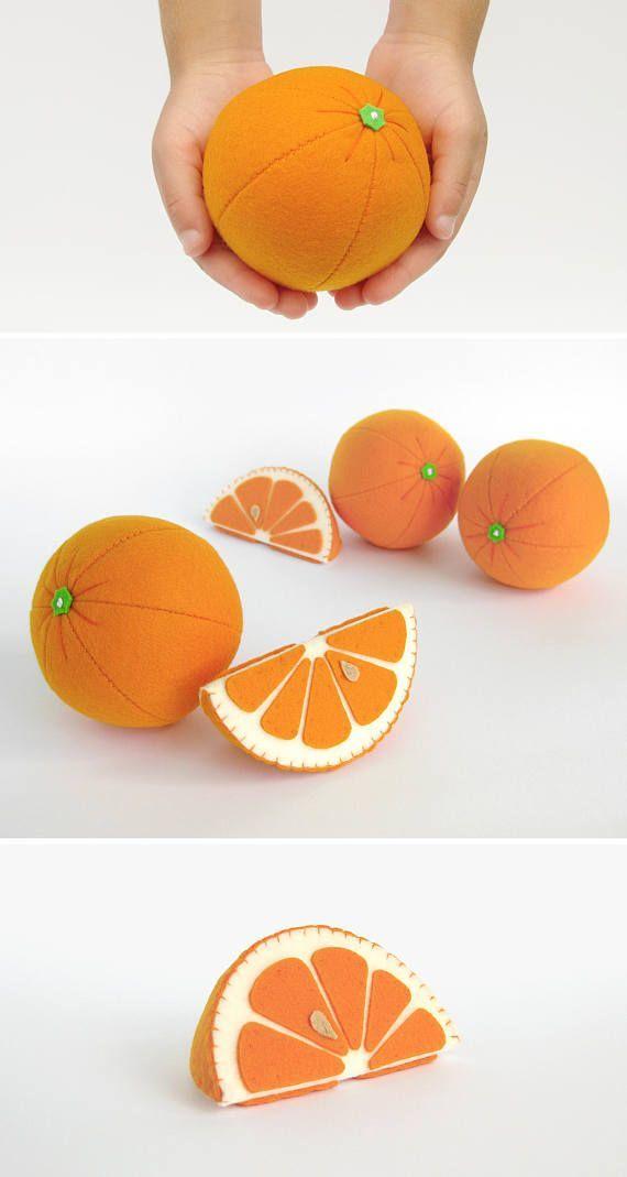 Toy Orange Stofftiere für Baby Geburtstagsgeschenk für Kinder Dusche Geschenkidee Mädchen Kinderzimmer Dekor Zitrusfrüchte fühlte Spiel Essen