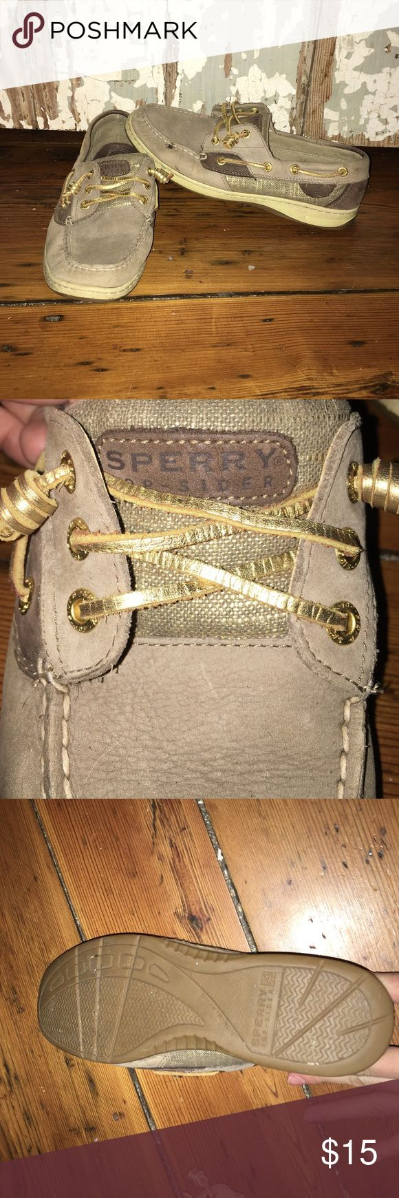 Sperry Slip On Shoe Brown sperry shoe with gold lacing, gold burlap detail, very little wear, one small stain, very comfortable Sperry Top-Sider Shoes Flats & Loafers