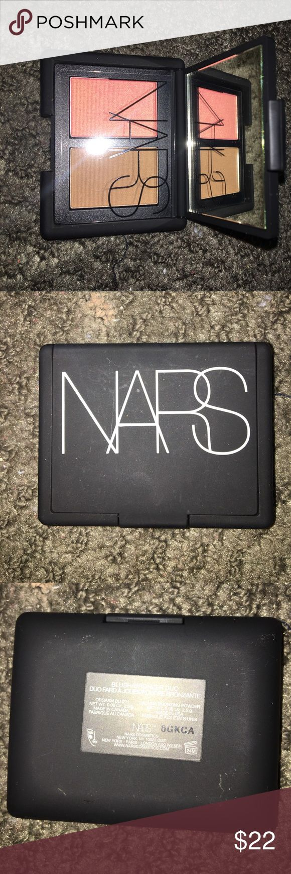 NARS blush bronzer duo travel sized NARS blush bronzer duo in orgasm and laguna. Completely new, but without box. Bundle for better deals. NARS Makeup Blush