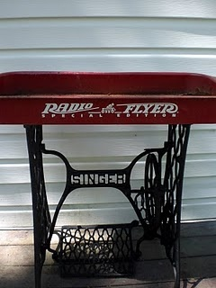 old wagen+sewing table bottom into a beverage cooler