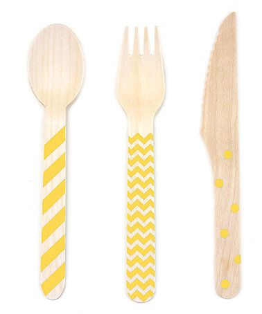 Another great find on #zulily! Yellow Stamped 18-Piece Wooden Cutlery Set #zulilyfinds