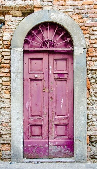 Old wooden door, pink, curved, bricks, weathered, aged, cracks, carved, beauty, entrance, doorway, beauty, lovely, Soncino, Cremona, Italy door.