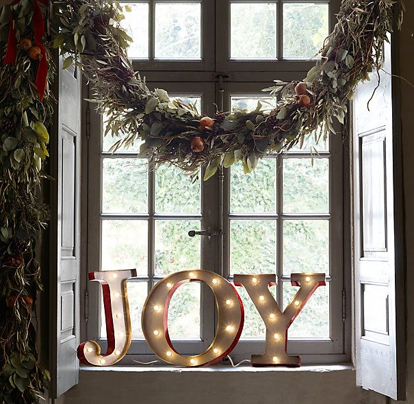 Vintage Illuminated Marquee Words Joy Restoration Hardware Holiday Ideas Pinterest