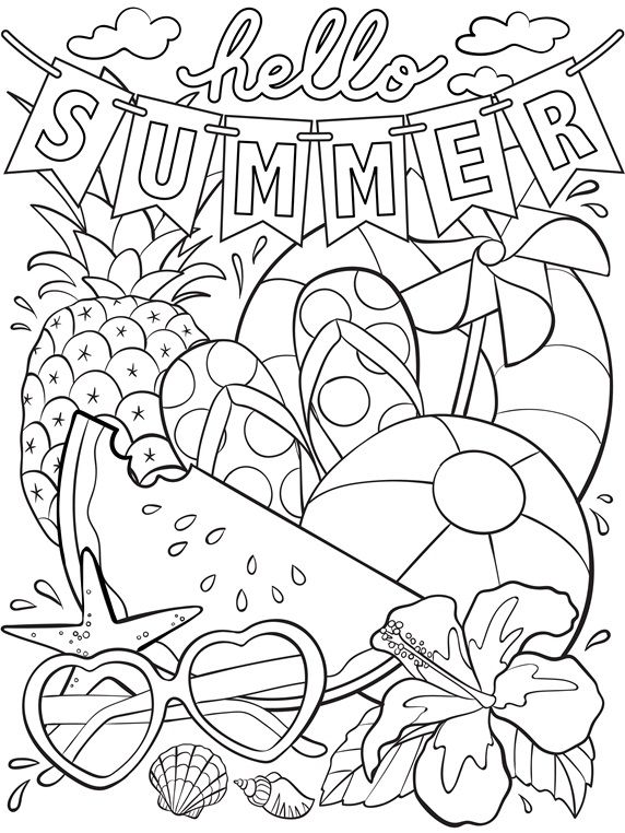 Hello Summer coloring page to send with letters to our