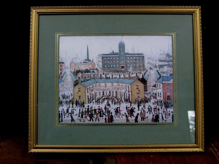 LS Lowry - Lowry Pictures - Vintage Lowry - Lowry Art - Lowry Prints - VE Day Celebrations - Canal Bridge - English Art - Matchstick Men by MissieMooVintageRoom on Etsy