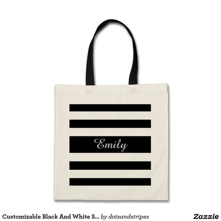 Customizable Black And White Striped Monogram Tote Bag With A PErsonalized Name Print