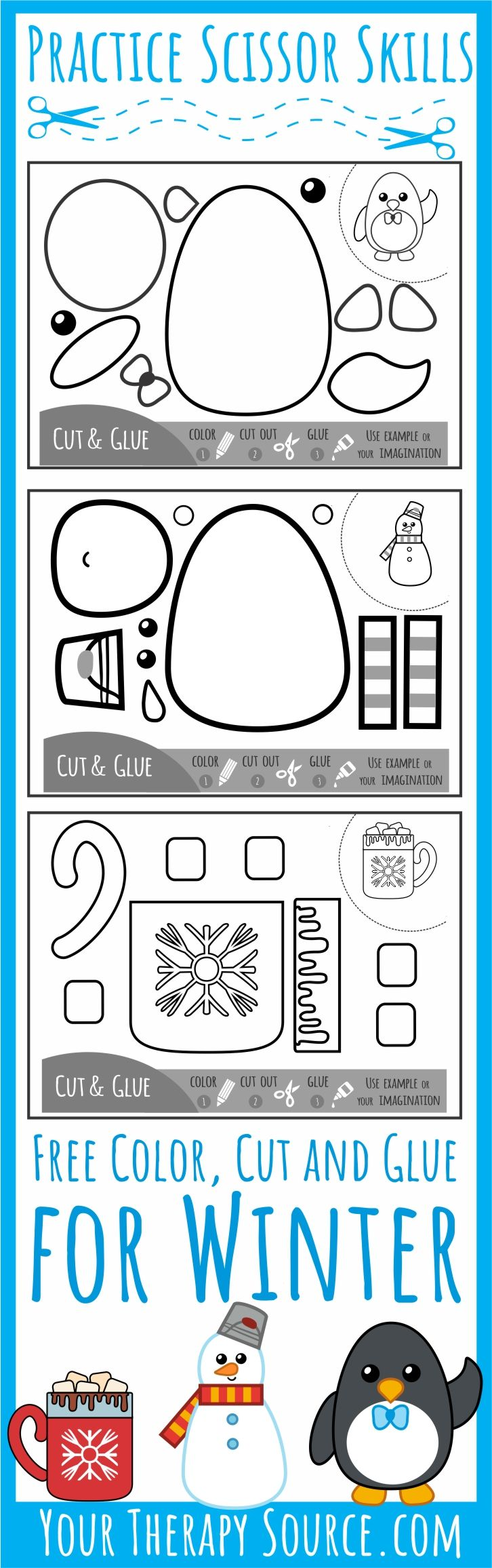 Color Cut Glue Scissor Practice for Winter - 3 FREE printable black and white pages to practice scissor skills, sequencing and more from Your Therapy Source.