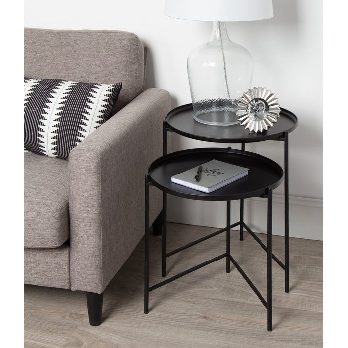 Petersburg Round Metal 2 Piece Nesting Tables Small Accent
