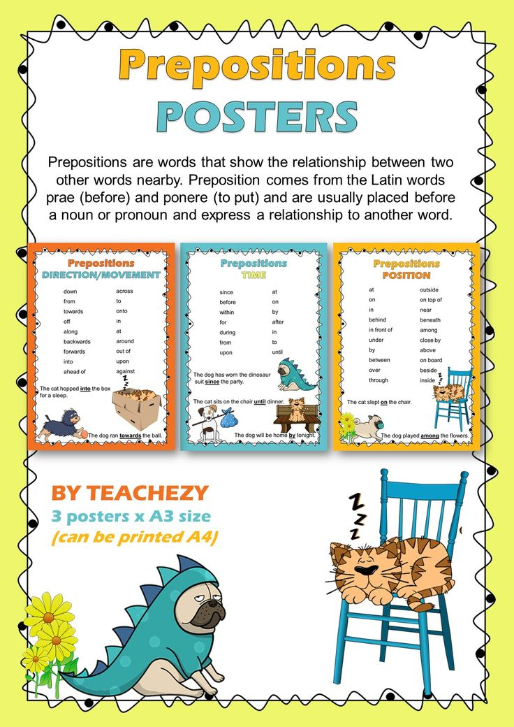 3 posters displaying prepositions of direction/movement, time and position. Prepositions are words that show the relationship between two other words nearby. Preposition comes from the Latin words prae (before) and ponere (to put) and are usually placed before a noun or pronoun and express a relationship to another word. 3 pages for $1.80! http://designedbyteachers.com.au/marketplace/preposition-posters/