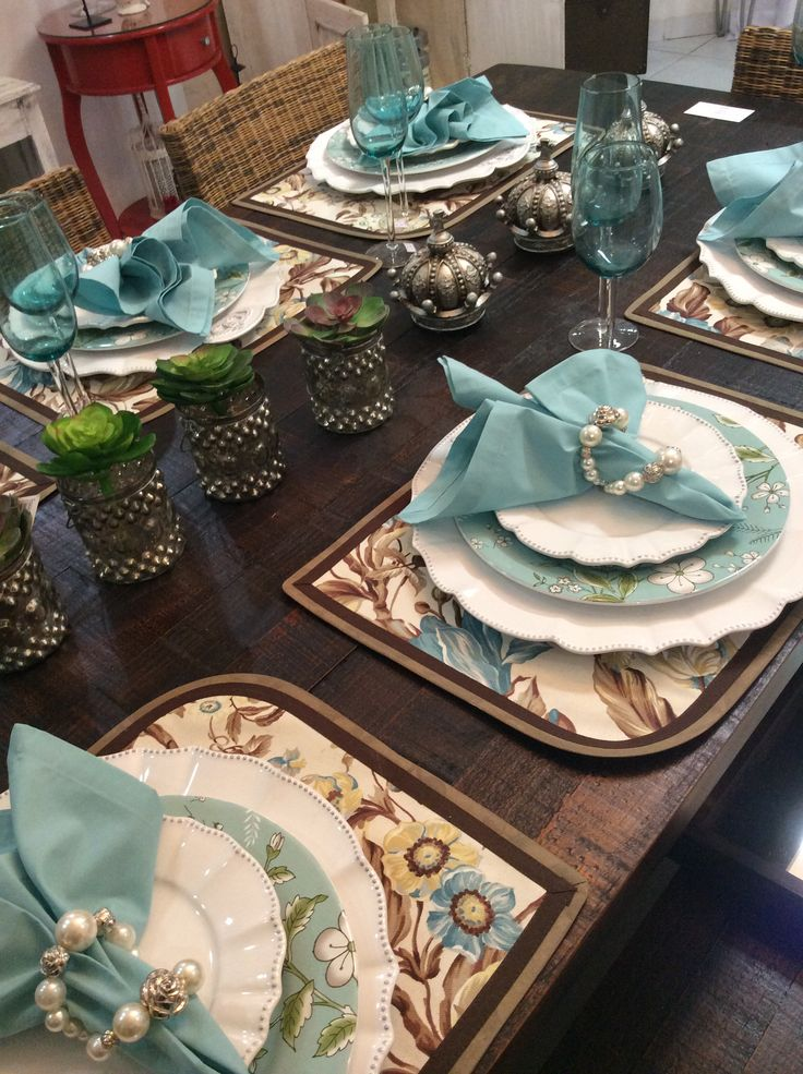 Gorgeous tablescape in light turquoisey-gray, white and brown. Everything on this table is beautiful.