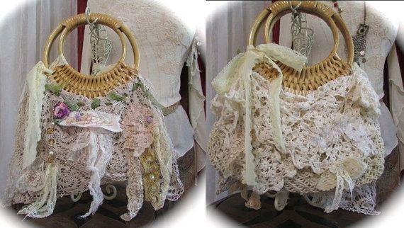 Whimsical faerie Purse, macrame rattan handbag, shabby woodland fairy mori girl tattered romantic vintage victorian lace doily, SMALL