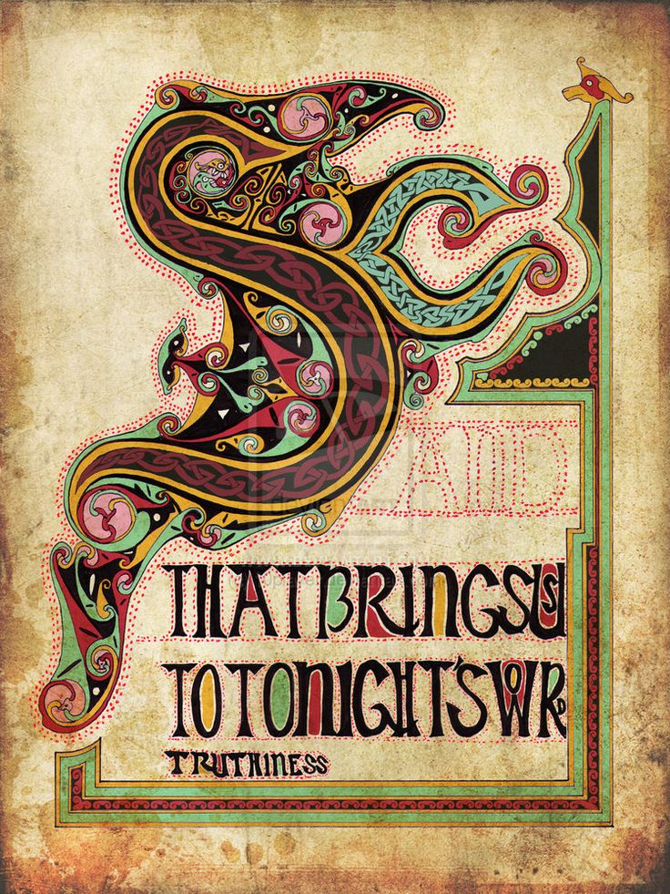 """Tonight's word: truthiness"" meme (Steven Colbert) rendered as a Book of Kells-style illuminated manuscript"