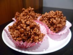 Plate of chocolate rice crispy cakes