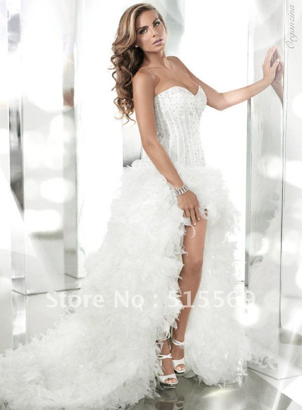 front short long back cathedral train tulle beaded unique sexy designer luxury royal wedding dress 2013