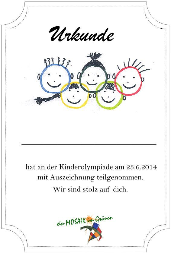 Bildergebnis Fur Kinderolympiade Urkunde Kinderolympiade