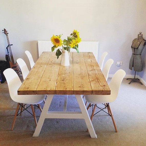 Reclaimed Industrial Chic A-Frame Seater Solid Wood Metal Dining Table in  White.Cafe Restaurant Furniture Steel Made to Measure 120