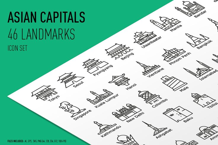 Asian Capitals Icon Set by bhj on @creativemarket