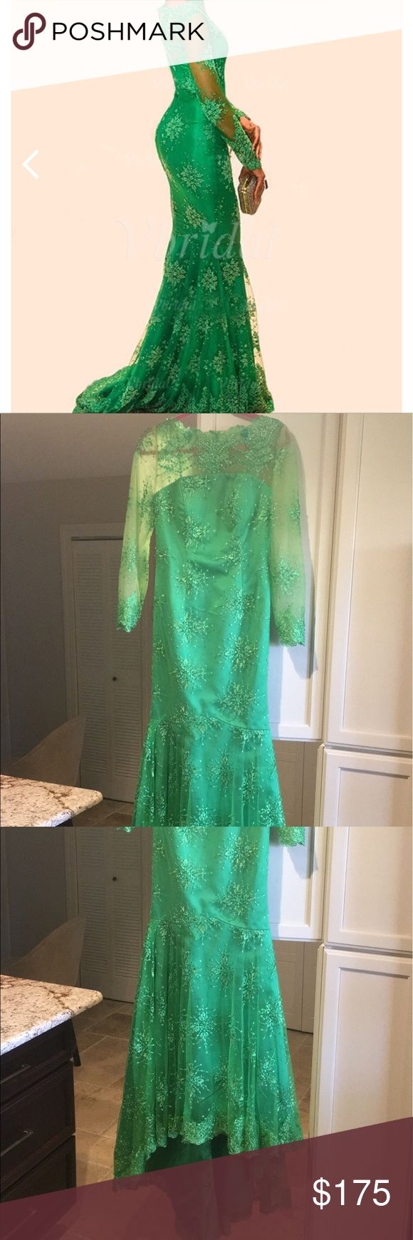 Green Lace Formal Dress Formal Dress. Never warn, great condition. V Bridal Dresses Long Sleeve