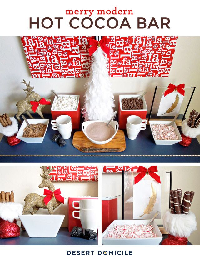 This hot chocolate bar will score two thumbs up with the kids (and some of the adults, too!)! #holiday #party #Christmas