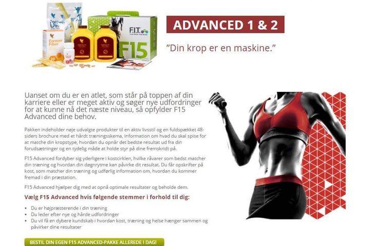 NYHED - FITSYSTEM F15 Advanced hjælper dig med at opnå optimale resultater og beholde dem.!!  Vælg F15 Advanced hvis følgende stemmer i forhold til dig:  - Du er højpræsterende i din træning - Du leder efter nye og hårde udfordringer - Du vil få en dybere kundskab i hvordan kost, træning og helse hænger sammen og påvirker dine resultater. Bestil i shoppen eller her på +45 50 92 03 90. Mvh. Gitte