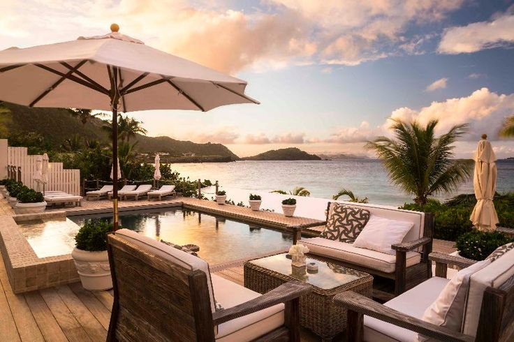 Cheval Blanc St-Barth Isle de France Pool at Sunset