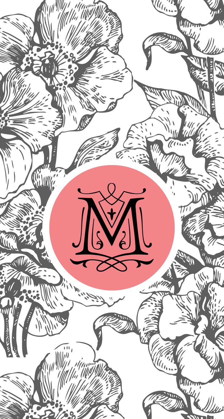 """FLORAL WITH THE MONOGRAM / LETTER """" M """""""
