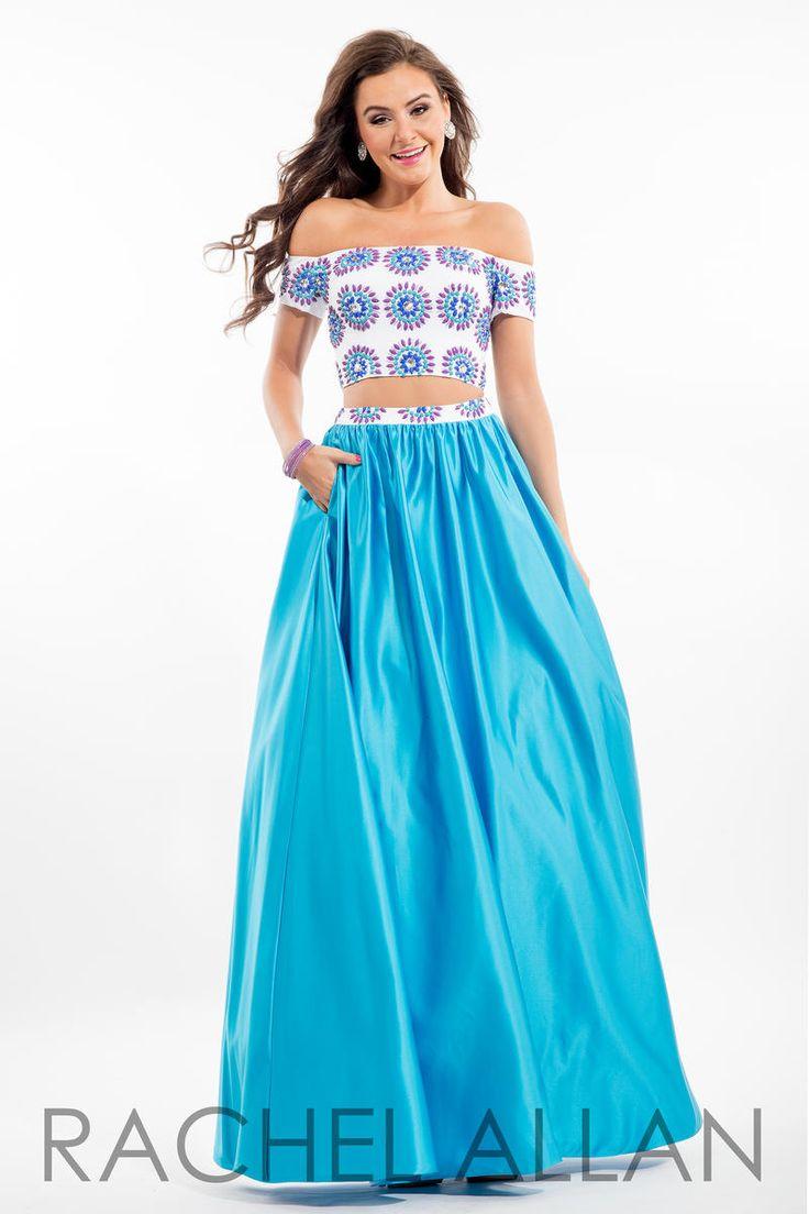 7081 Rachel ALLAN Long Dress. Long blue and white 2 piece dress