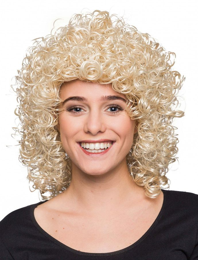 Perücke Damen kurz blond Lockig Fasching Karneval 80er Jahre Party