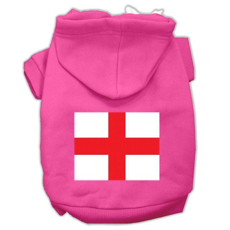 St. George's Cross (English Flag) Screen Print Pet Hoodies Bright Pink Size Sm (10)