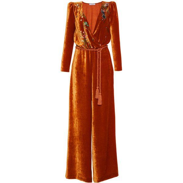 Vivetta     Congo Embroidered Velvet Jumpsuit ($940) via Polyvore featuring jumpsuits, brown, velvet jumpsuit, wide leg jumpsuit, embroidered jumpsuit, wrap jumpsuit and v neck jumpsuit
